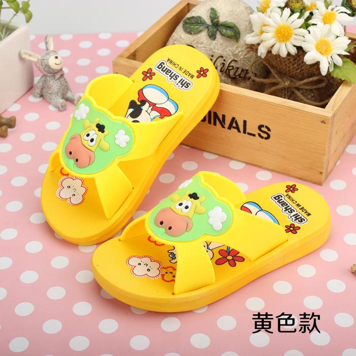 New Fashion Summer Baby Girls Boys Slippers Cartoon Cow Beach Slippers Kids Toddler Cartoon Flip Flops