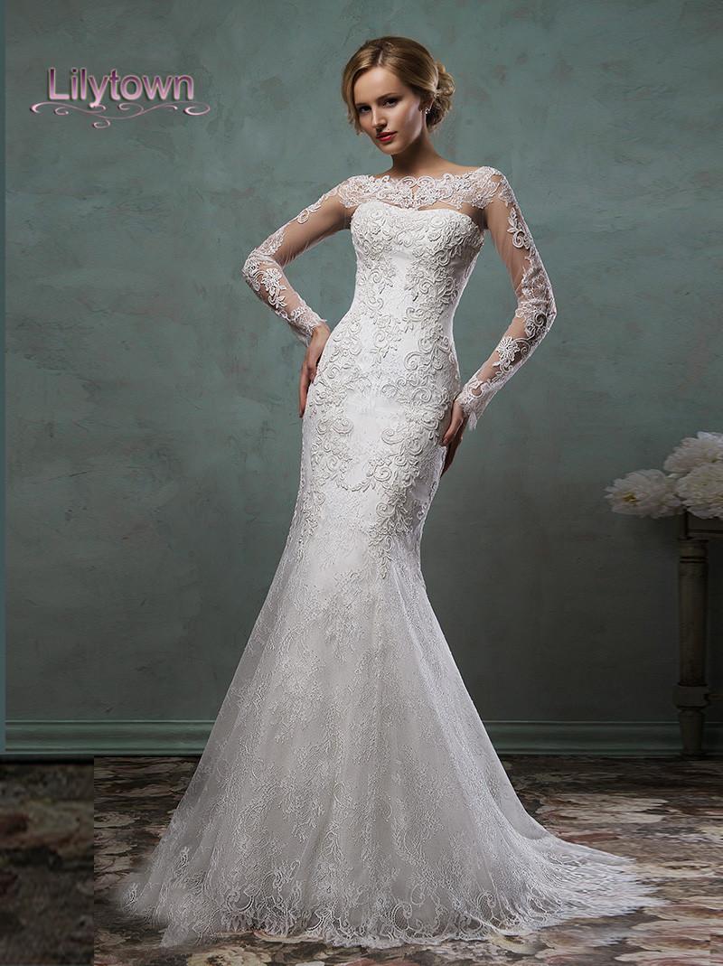 2016 Wedding Dresses Sheer Lace Sleeves Bateau Neckline