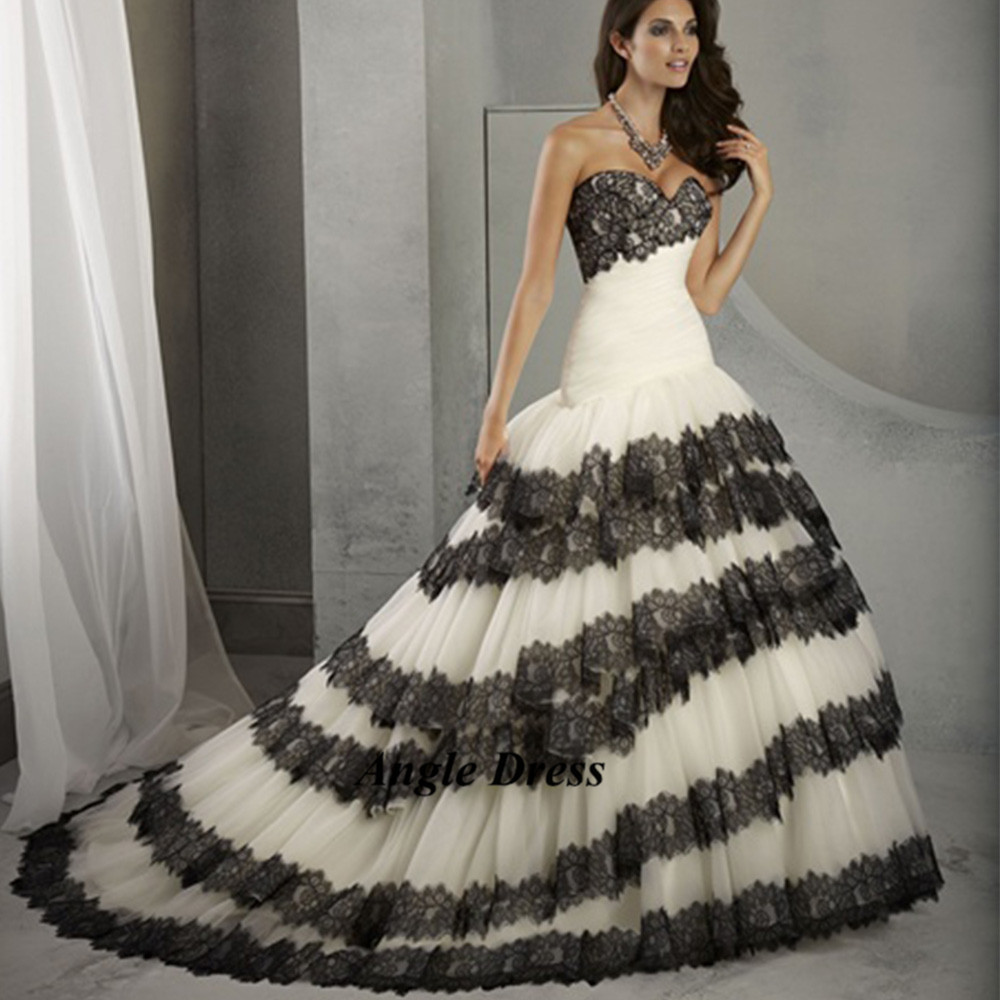 Black Wedding Dresses: New Fashion White And Black Wedding Dresses Lace Mermaid