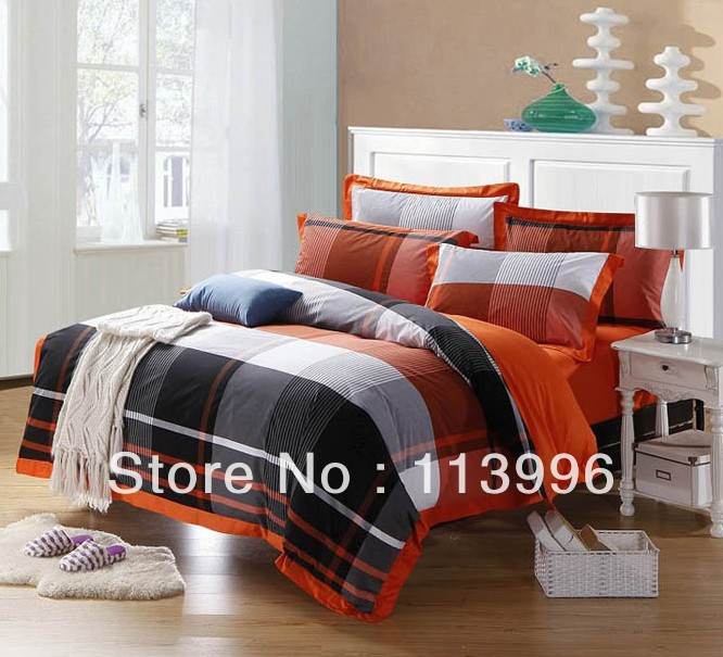 Yarn Dyed Simple Plaid Cotton Comforter Bedding Set 4pcs