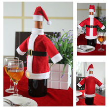 Xmas Santa Claus Red Wine Bottle Cover Wrap Christmas Party Table Dinner Decor Merry Christmas Cover Bags Decoration Home Party