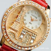 Dámské hodinky s Eiffelovou věží a krystaly z Aliexpress