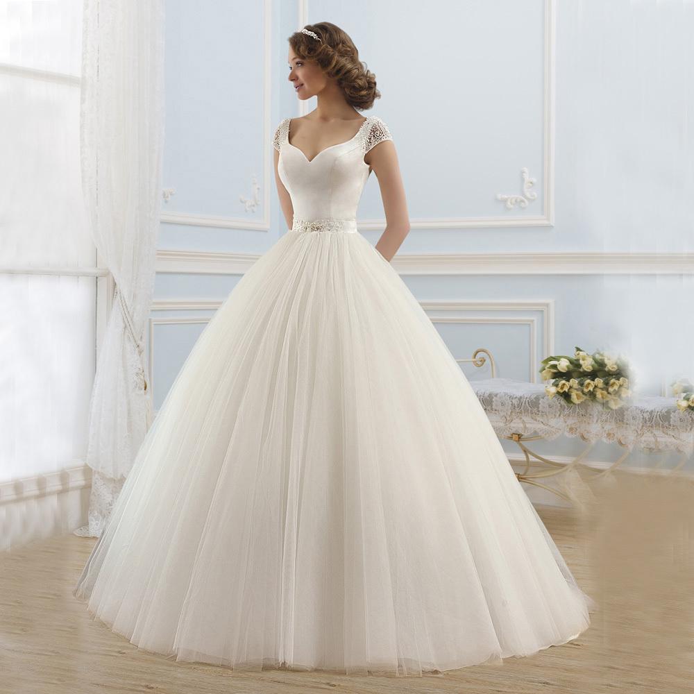 Elegant Silk Wedding Dresses With Sleeves: Elegant Satin And Tulle Princess Ball Gown Wedding Dresses
