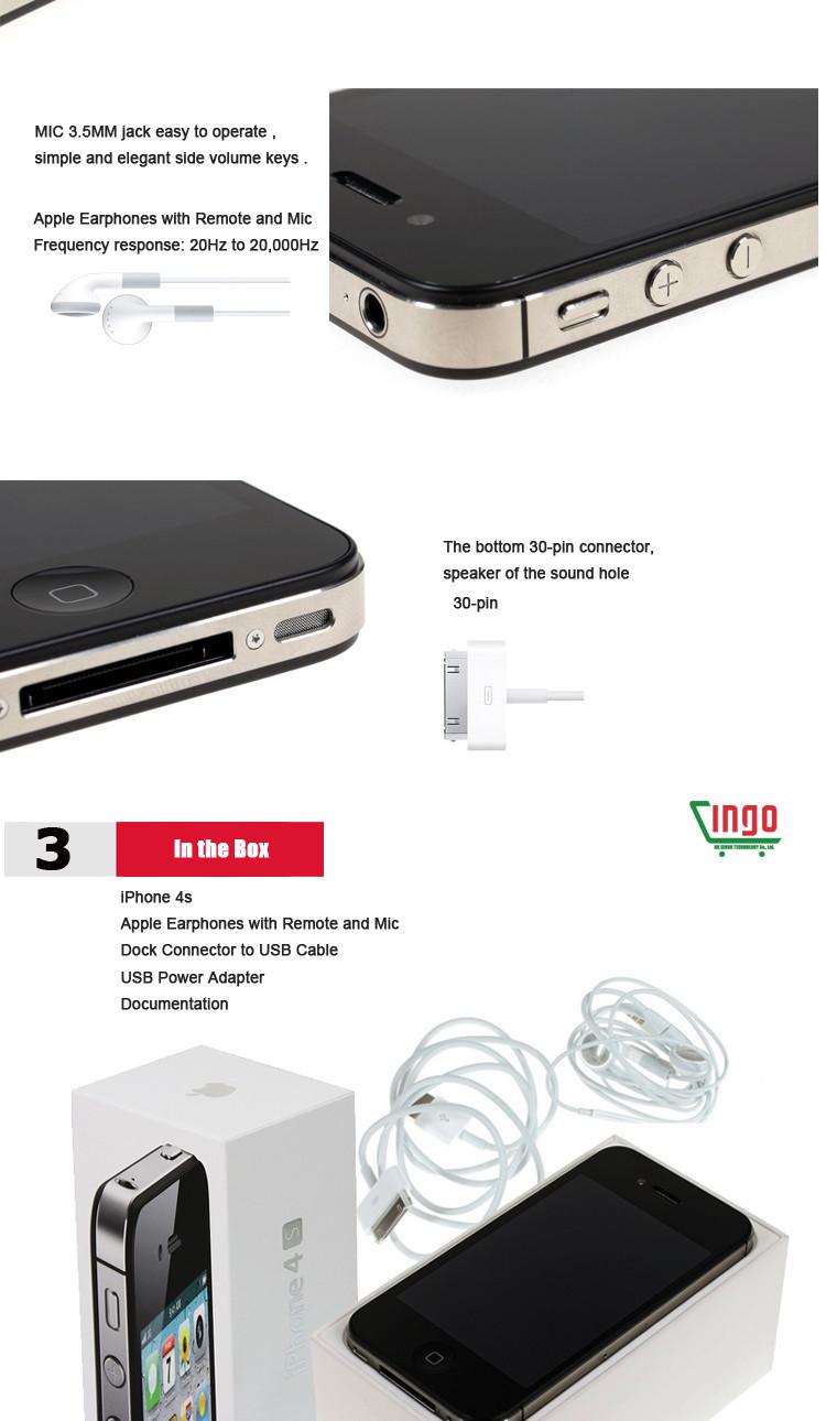 Original Apple iPhone 4S 16GB/32GB IOS7 3G 8MP GPS WIFI 3 5