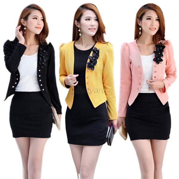 Moda para mujer coreana de manga larga corta delgada OL