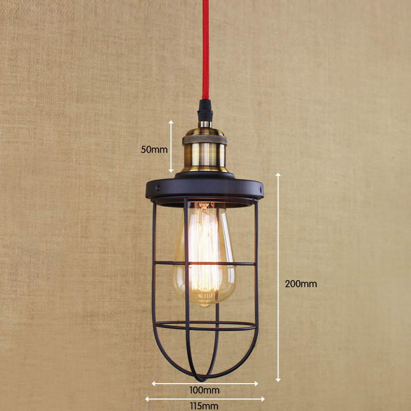 Industrial Black Retro Metal Red Wire Pendant Lamp Kitchen