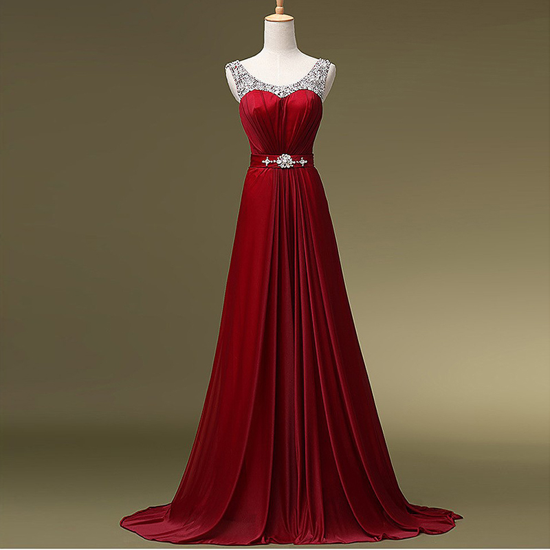Red Wedding Gowns 2014: 2014 Fall Winter Collection Long Red Evening Dress Elegant