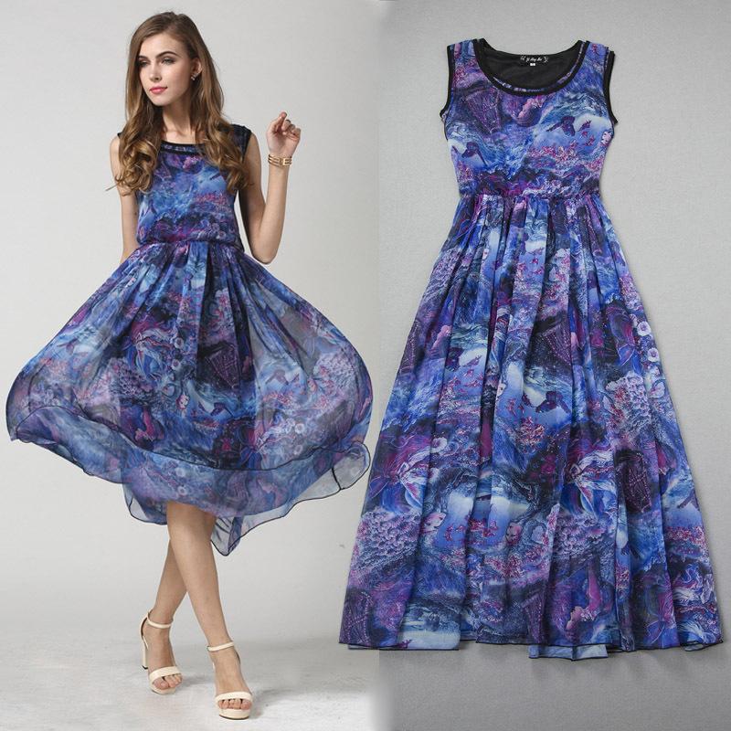 Plus Size Women Dress Bohemian Summer Dress 2015 Silk Big ...