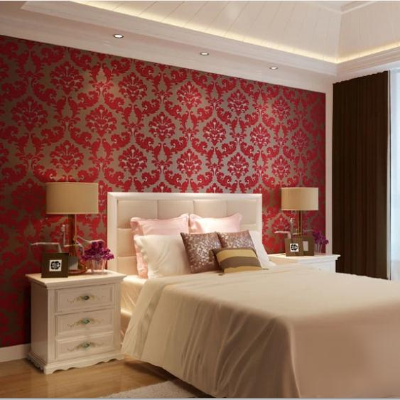 Home Design 3d Gold Ideas: Romantic European Velvet 3D Background Wallpaper Red