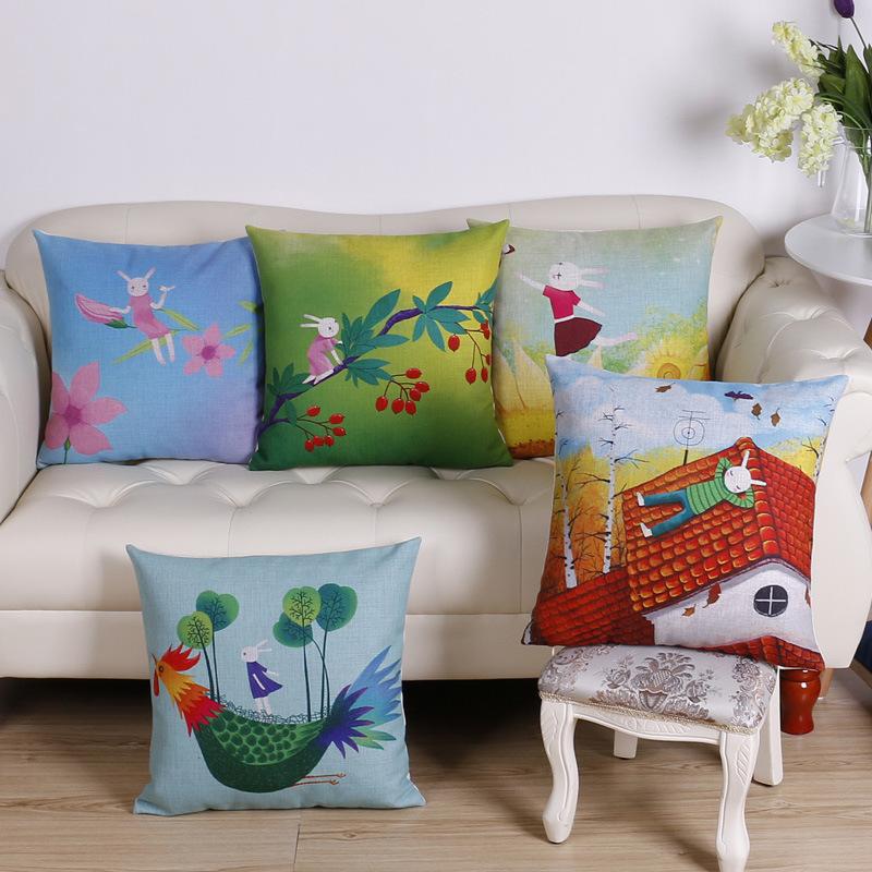 45cm Creative Rabbit Fashion Cotton Linen Fabric Throw Pillow Hot Sale 18 Inch New Home Decor Sofa Car Cushion Office Nap FR