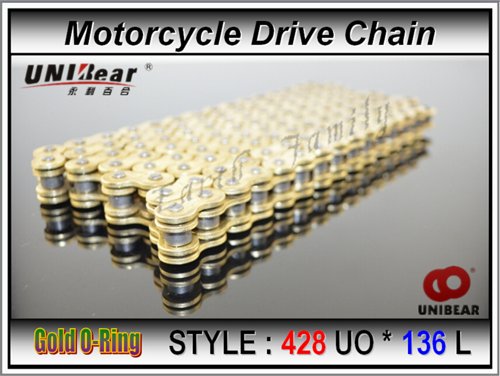 O Ring Lubricant >> 428 * 136 Motorcycle Drive Chain Atv Parts Unibear 428 Heavy Duty Gold O-Ring Chain 136 Links ...