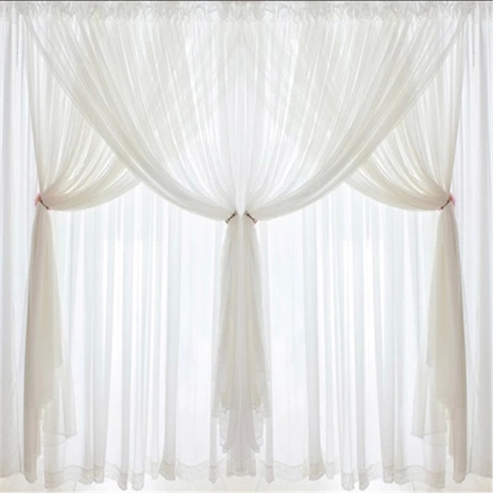 DJ Korean princess Luxury white lace custom curtains voile 3 layer curtain curtains wedding decoration home textile living room