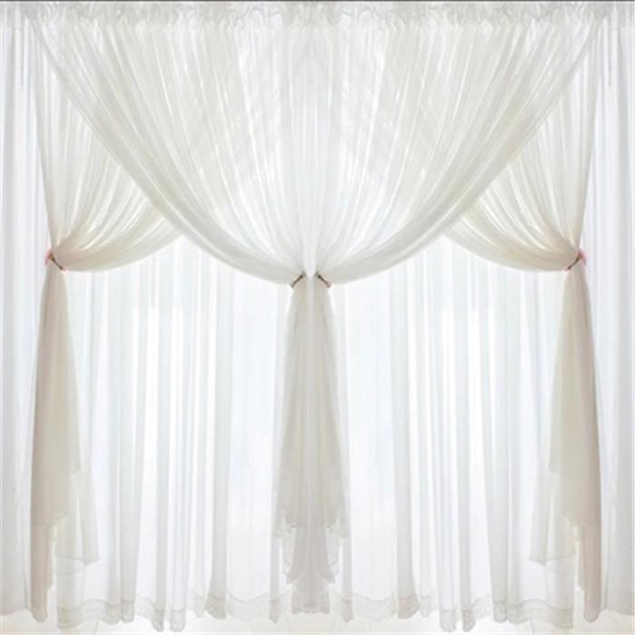 DJ Korean princess Luxury white lace custom curtains voile 3 layer curtain curtains wedding decoration home textile living room