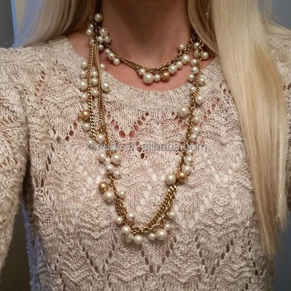 Latest Fashion Gold Long Chain Beaded Necklace Pearl Necklace