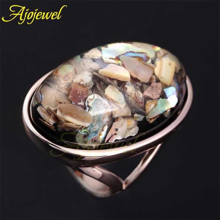 Ajojewel Brand 7 12 5 Trendy Jewelry Unisex Rose Gold Plated Big Oval Shaped Sea Shell