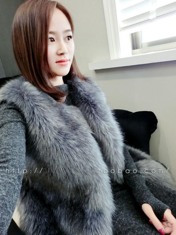 Free shipping 2016 autumn and font b winter b font fashion sweet slim medium long fox