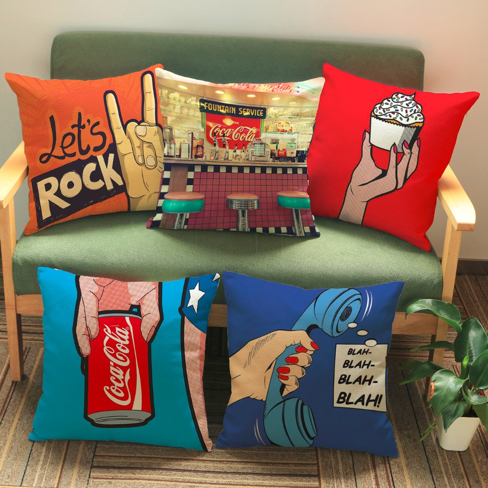 luxury home decoration outdoor Car sofa seat cushion cushions pillow lets rock wall sticker Diamonds Embroidery Pattern printing