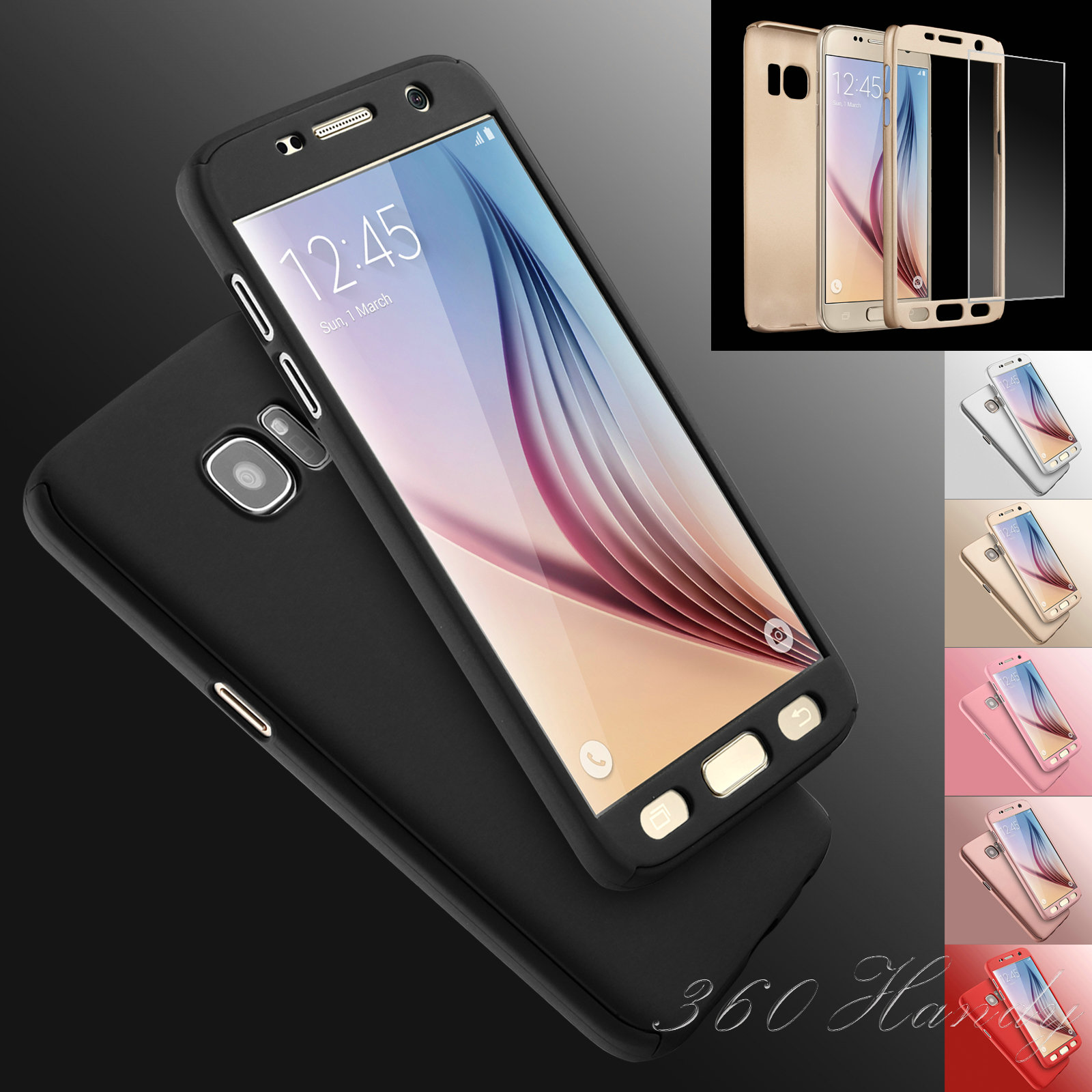brand new 64537 d8d65 Hybrid Shockproof Gradient Ultra Slim Case For Samsung Galaxy S6 S7 edge  360 Degree Full Prorective Cover Screen Protector Glass