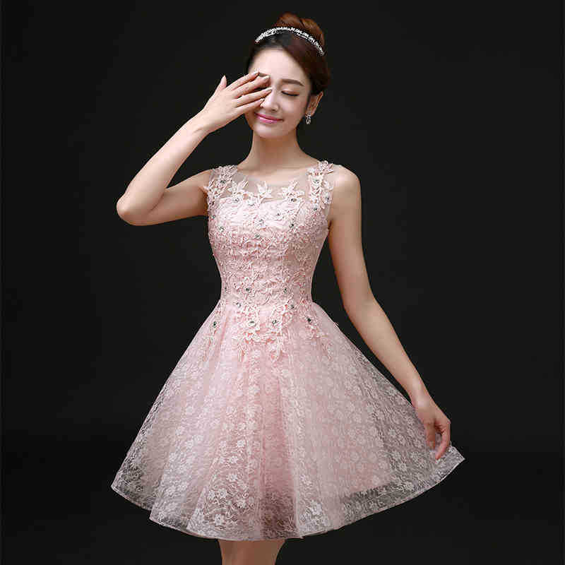discover latest trends factory price cheaper sale Sweet Cocktail Dresses New SSYFashion Bride Married Banquet Pink Lace Short  Prom Dress Plus Size Party Formal Dresses