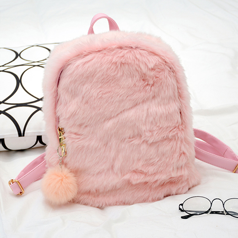 Women Backpacks Bag Fur Pu Pink Black Travel School Furry Fluffy Plush Zipper Student High Quality Fashion New 2017 Backpack