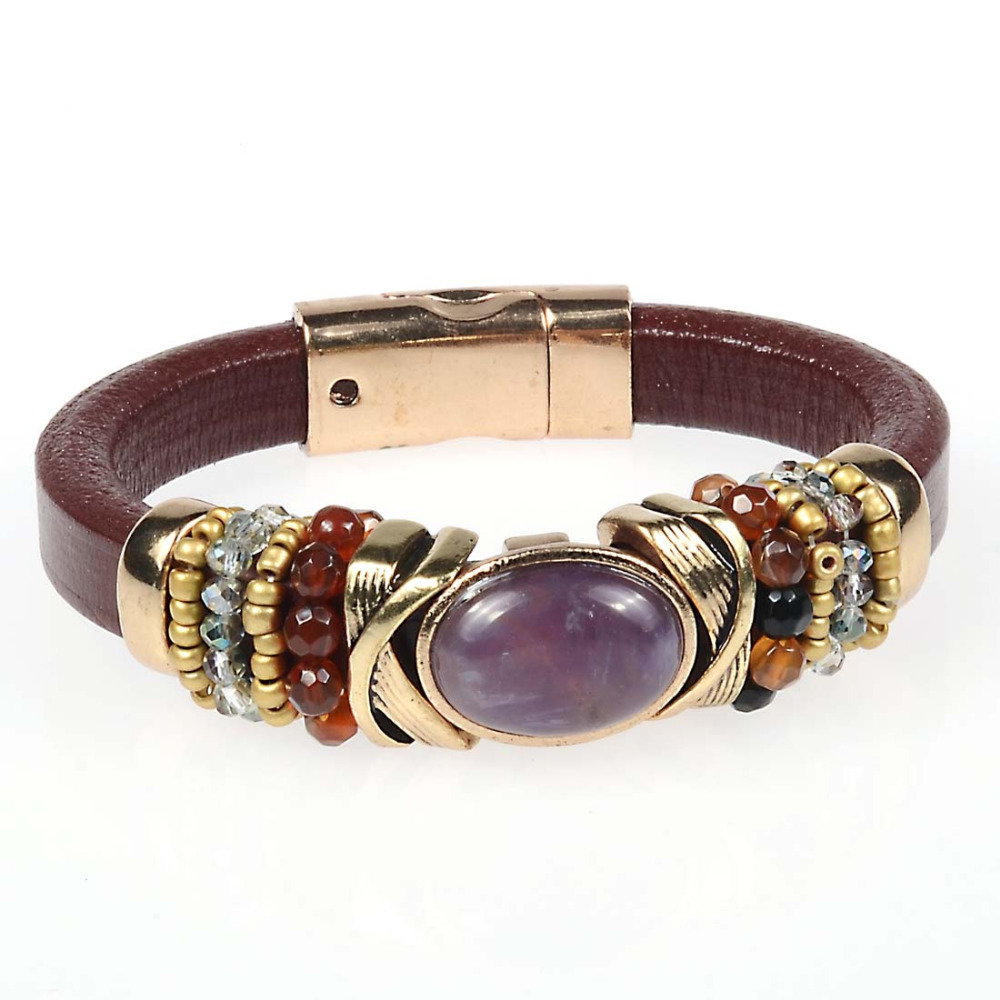 Magnetic Charm Bracelet: Magnetic Bracelet With Geniune Leather And Amethyst Charms