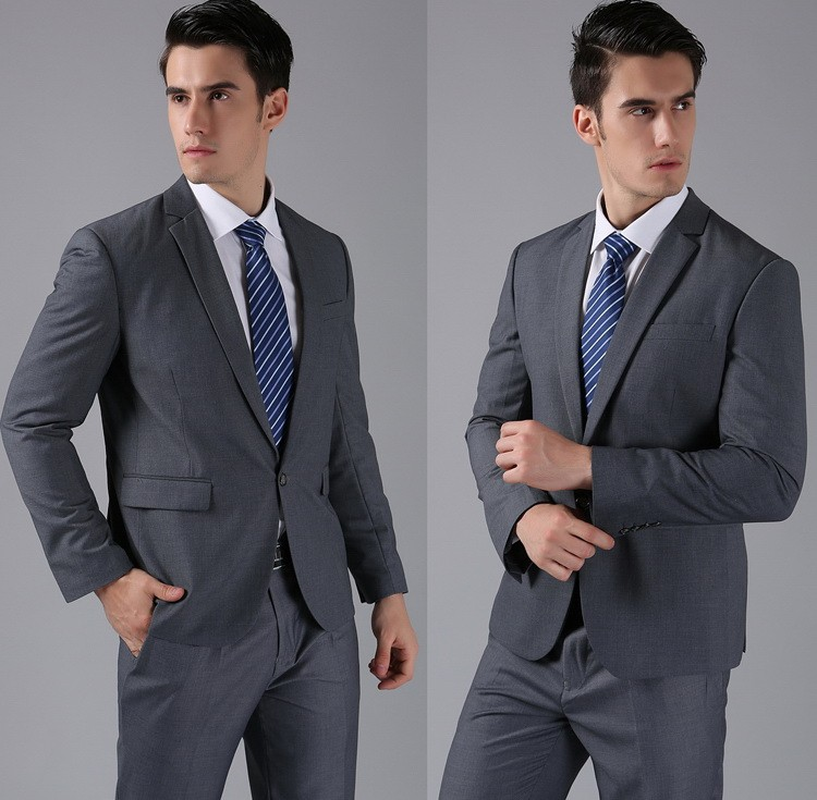 (Kurtki + Spodnie) 2016 Nowych Mężczyzna Garnitury Slim Fit Niestandardowe Garnitury Smokingi Marka Moda Bridegroon Biznes Suknia Ślubna Blazer H0285 50