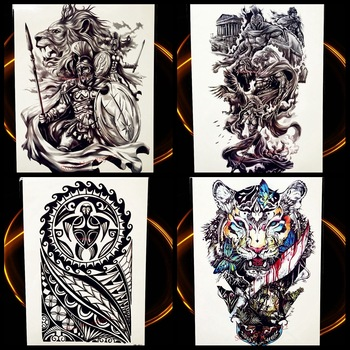 Greek Myth Hero Spartans Temporary Tattoo Sticker Men Body Arm Tattoo Sleeve Waterproof Fake Flash Power Warrior Tattoo Black