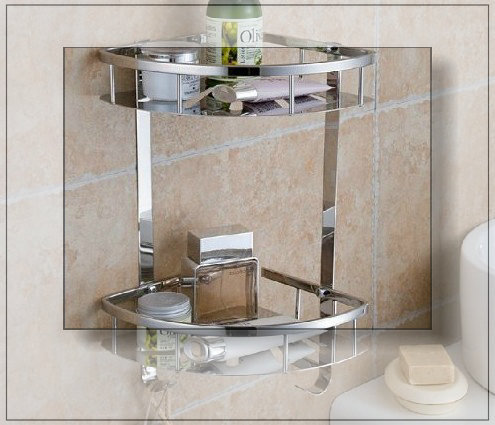 Bathroom accessories dual tier bathroom kitchen corner - Bathroom shelves stainless steel ...