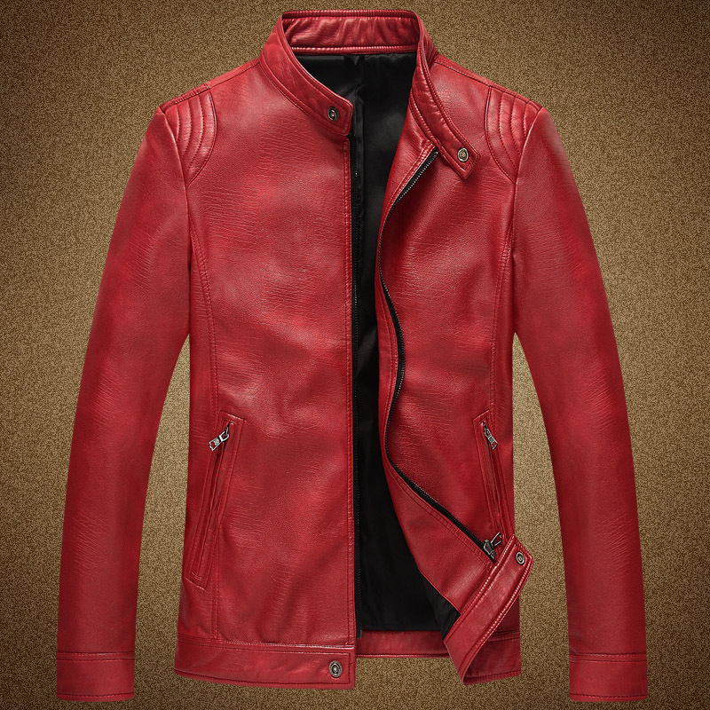 Cheap red leather jacket