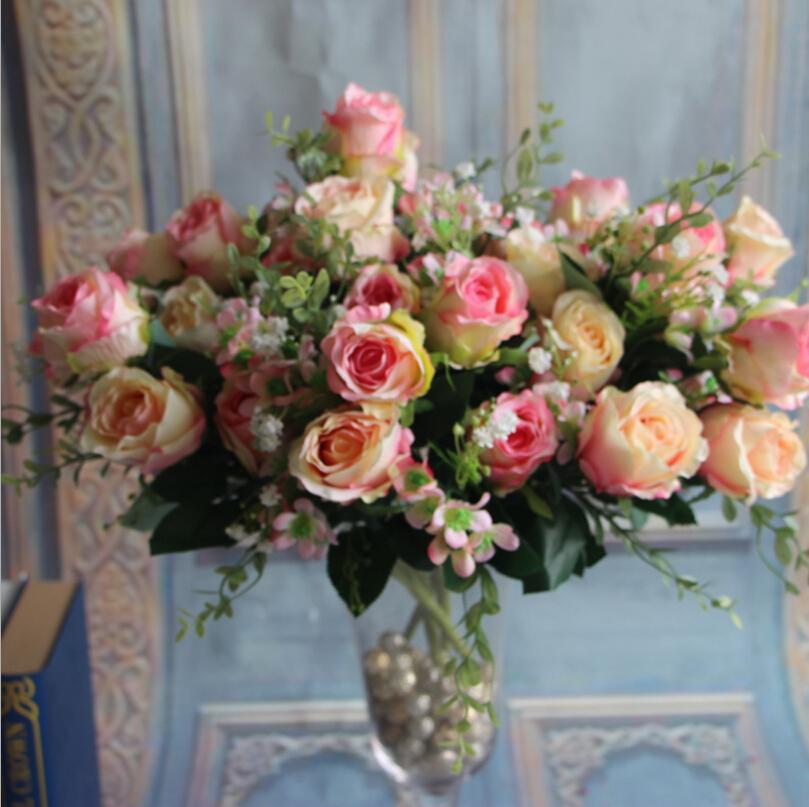 50pcs/lot Spring Sunshine Rose Bouquet Simulation Flowers For Wedding Or Store Shop Home Decorations