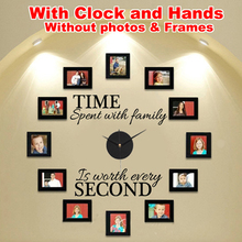"""Time Spent With Family"" Wall Clock DIY Modern Design With Photo Frame Creatively Acrylic&Vinyl Material Home Decoration"