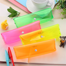 Cute Kawaii Transparent Plastic Pencil Case Lovely Colored Pen Box For Kids Gift Korean Stationery Free Shipping 1201