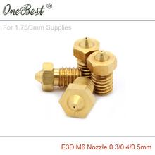 3Pcs E3D M6 threaded Copper Nozzle 0.3 / 0.4 / 0.5mm Supplies 1.75mm / 3mm 3D printer parts E3D V5 V6 hot selling free shipping