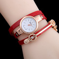 9colors New One Designer Fashion Metal Charm Pu Warp Women Bracelets Watch Sloggi Same Style Lady