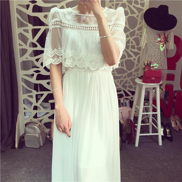 robe longue blanche dentelle vintage la mode des robes de france. Black Bedroom Furniture Sets. Home Design Ideas