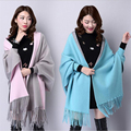 Trendy 2016 Autumn Imitation Cashmere Batwing Sleeve Thicken Tassel Knitted Poncho Fashion Women Knitting Cardigan Shrugs
