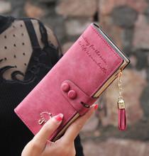2016 Vintage Women Wallets Matte PU Leather Ladies Handbags Hasp Tassel Zipper Brand Clutch Coin Purse Woman Burse Wallet Bags