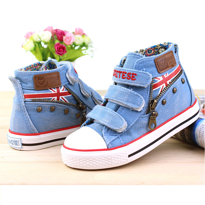 Children Canvas Shoes Boys Girls Flat Fashion Sneakers 2016 New Spring Child Denim Shoes Classic Lace