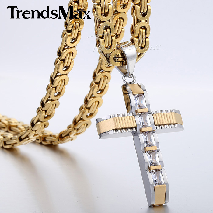 Mens Chain Boys Carved Gold Silver Tone Stainless Steel Cross Pendant Necklace w Clear Rightstones Fashion