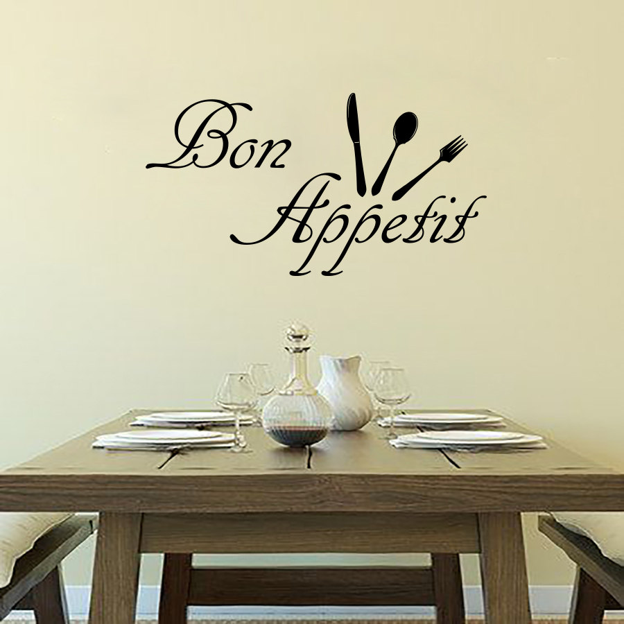 Cheap Bon Appetit Wall Decals Cutlery Removable Vinyl Diy Home Decor