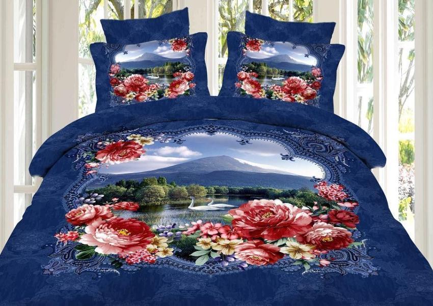 3D Blue Swan Lake Floral Flower Bedding Comforter Set