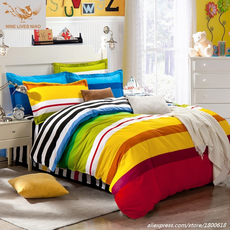 Youth Bedding Sets Chinese Colorful Style Queen Bed Linen