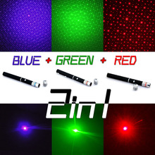 3PC Laser Pointer Pen 2in1 5mw Powerful Green/Red/Blue Violet With Star Cap