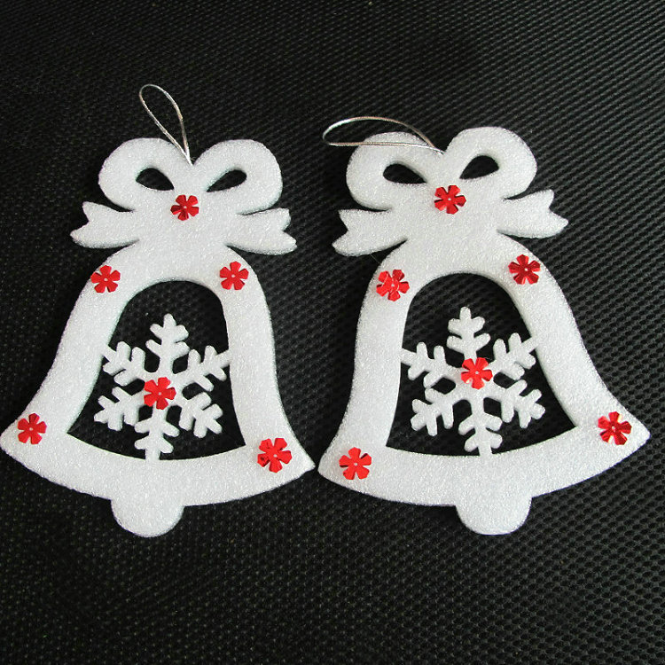 6pcs Christmas bell snow white tree ornament 13X17cm home decoration free shipping