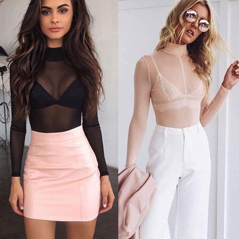 b99dcacd46 Wholesale Fashion Women Sexy Long Sleeve Mesh Shirt Casual Crop Top ...