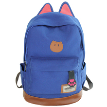 New 2016 Campus Women Girls Backpack Travel Bag Young Canvas Men Backpack Brand Fashion School Sports Bags Cat Ears Bags