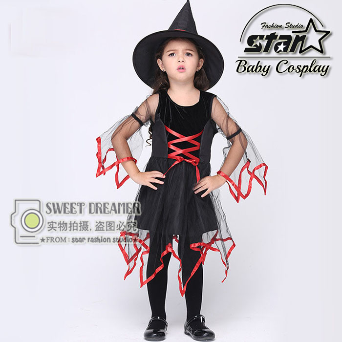 font b Children b font Halloween Cosplay Party Witch Performance Costume font b Fancy b