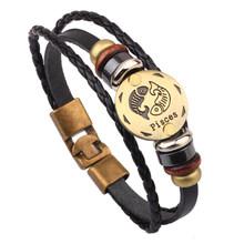 """Мужской кожаный браслет Vnox 12, винтажный Ретро браслет с подвеской, мужские ювелирные изделия 8,2""""(Китай)"""
