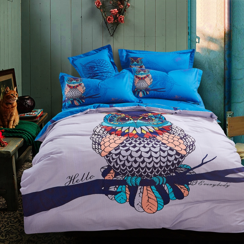 Blue Harry Potter Hathaway Owls Bird Print Bedding Set