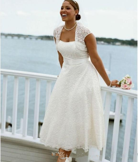 Vintage Lace Tea Length Beach Wedding Dress Short Sleeves: New Style Strapless Tea Length Lace Short Sleeve Plus Size
